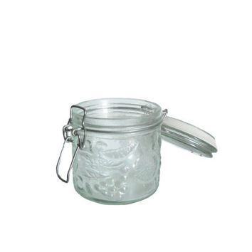 Vintage Glass Jar Clear 1/2 Pint - Raised Fruit Design Grapes, Cherries, Lemons, and Oranges With Lid and Bail Closure