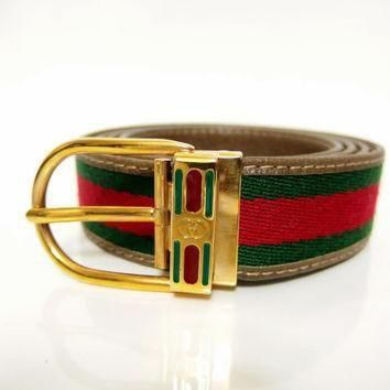 GUCCI / Guccio Gucci / Vintage Belt Shelley line Green & Red / Extra Large Size 42/105