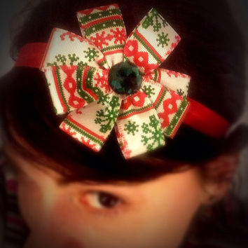 Christmas headband, elastic headband, red and green christmas flower hair band