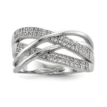 Sterling Silver Rhodium-plated CZ Woven Ring