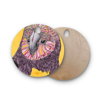 """Danny Ivan """"Lovely Owl"""" Round Wooden Cutting Board"""