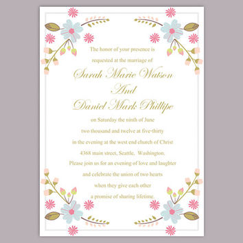 DIY Wedding Invitation Template Editable Word File Instant Download Printable Invitation Floral Wedding Invitation Colorful Invitation