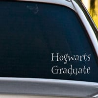 Harry Potter Inspired Hogwarts Graduate  Vinyl  Car Decal  FREE SHIPPING