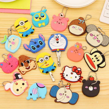Large Size Cartoon Anime Silicone Cute Hello Kitty&Minion Owl Key Cover Cap Fashion Keychain Chain Ring Holder Christmas Gifts