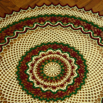 Holiday Red Flower Doily Centerpiece - 21 Inch Fine Thread Crocheted Lace Art in Red, Green and White Graphic Design