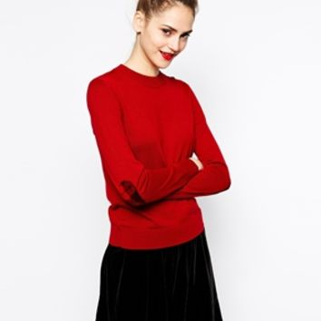 Love Moschino Long Sleeve Round Neck Sweater with Heart Elbow Patches