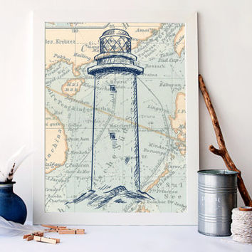 Vintage ocean map, Lighthouse on map decor, bathroom nautical art, antique nursery decor, antique ocean map art, beach house decor, A-1062