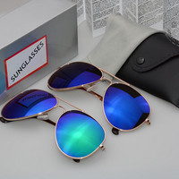 Full Mirrored Aviator Sunglasses w/ Flash Mirror Lens Uv400