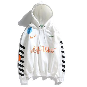 Nike X Off White Classic Popular Women Men Leisure Long Sleeve Hooded Sweater Top Sweatshirt White