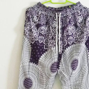 Rayon pants with side pockets dark purple white tribal pants/ Jumper pants/ Rayon pants Adult trousers /Beach pants
