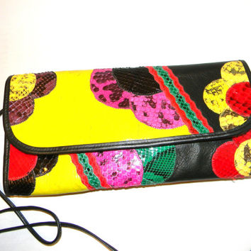 Vintage clutch in leather -  Carlos Falchi Shoulder bag , multi colored