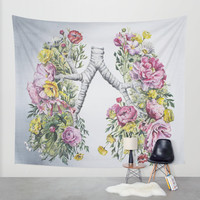 Floral Anatomy Lungs Wall Tapestry by Trisha Thompson Adams