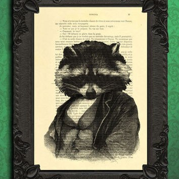 raccoon print, animal portrait art print, raccoon art, raccoon poster, kids art