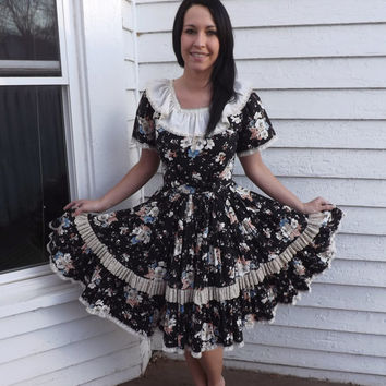 Black Floral Dress Country Dancing Square Dance Rockabilly Full Circle Skirt S XS