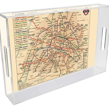 Paris Metro Map Lucite Tray