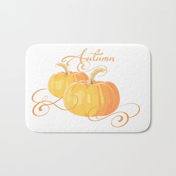Golden Orange Autumn Pumpkins Bath Mat by Zurine