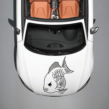 ANIMAL EVIL BEAUTIFUL FISH DESIGN HOOD CAR VINYL STICKER DECALS ART MURAL SV1090
