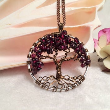 Tree Of Life Necklace Garnet Pendant Dark Brown Trunk On Silver Chain Wire Wrapped Semi Precious Gemstone Jewelry January Birthstone
