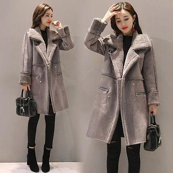 Winter Woman Shearling Coats Faux Suede Leather Jackets Plus Size Loose Coat Medium Long Faux Lambs Wool Coat S-XL