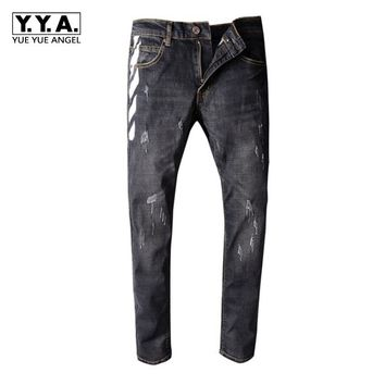 Mens Black Print Jeans Mens Slim Pants Ripped Scratched Gothic Style Male Denim Pants Brand Large Size 36 38 40