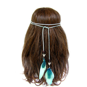 Feather Headband, Native American Hair Feathers, Feather Headpiece, Tribal Headband, Feather Hair Band, Hippie, Bohemian, Mint Green