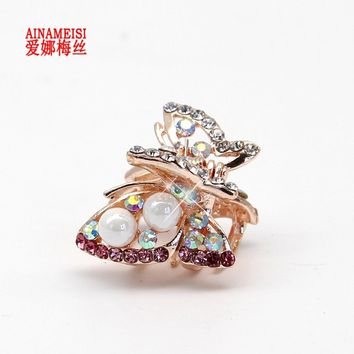 AINAMEISI High Quality Butterfly Flowers Rhinestone Alloy Crab Pearl Hairpin Claw Clip Bridal Jewelry Headwear Accessories