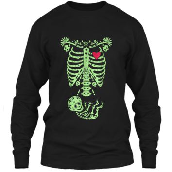 Pregnancy Halloween Costume Mexican Day Of The Dead  LS Ultra Cotton Tshirt