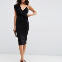 ASOS One Shoulder Cami Cowl Front Midi Bodycon Dress at asos.com