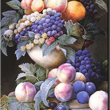 Grapes in a Vase - Redoute - Wall Art Decor Picture on Stretched Canvas , Ready to Hang!.