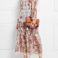 Zimmermann - Alchemy lace-trimmed printed silk-chiffon dress