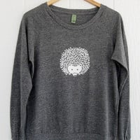 Hedgehog Slouchy Pullover in Eco Grey Heather