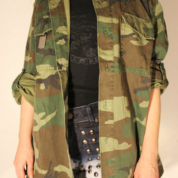 Vintage Woodland Camouflage Army Fatigue Jacket - Free Shipping