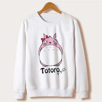 White Hoodies Female 2018 Spring harajuku kawaii Totoro Print Long Sleeve O-neck Swaetshirt Women Clothes Moletom Feminino Cute