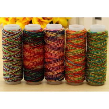 5Pcs/set Rainbow Color Sewing Thread Hand Quilting Embroidery Sewing Thread for Home DIY Sewing Accessories Supplies Gifts