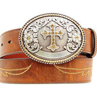 Ariat Women's Western Cross Concho Wings Leather Belt