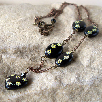 Vintage Romance - Hand Painted Glass Bead and Oxidized Brass Necklace SRAJD