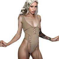 2017 Sexy Bandage Square neck sexy bodysuit Sleeveless elegant jumpsuit romper Party Khaki solid color women outfits MY24