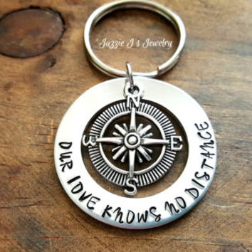 Our Love Knows No Distance Hand Stamped Keychain, Compass Keychain, Long Distance Couples Keychain, Military Couples Gift, Off to College