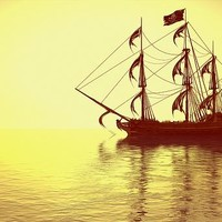 The Pirate Ship and The Sunset Digital Art by Liam Liberty - The Pirate Ship and The Sunset Fine Art Prints and Posters for Sale