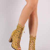Suede Geo Cutout Chunky Heeled Lace Up Booties