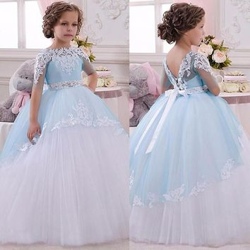 Pageant Dresses for Little Girls Lace Appliques Half Sleeves Beading Belt Open V Back Floor Length Ruffle Tulle Ball Gowns