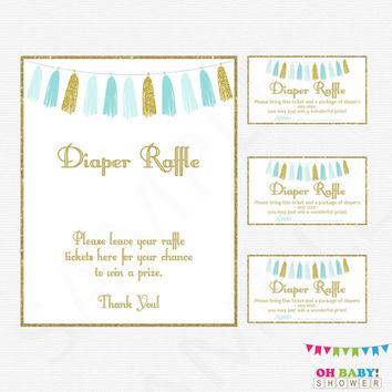 Blue and Gold Baby Shower Diaper Raffle, Diaper Raffle Tickets, Baby Shower Sign, Blue Gold Baby Shower Games, Printable Download, TASBG