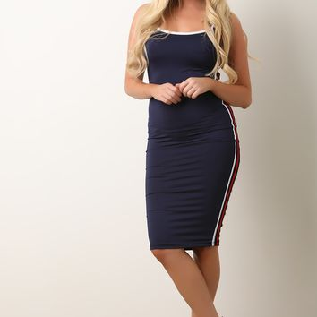 Sporty Side Stripe Midi Cami Dress