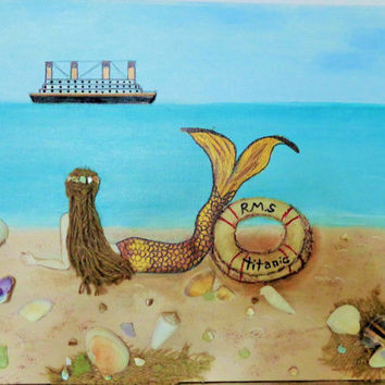 Mermaid Collage Original Artwork.  Titanic Wall Hanging. Brown Hair Beach Decor . Acrylic Painting on Canvas.