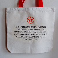 Supernatural My Prince Charming Bag. Tote Bag. Fandom Bag.