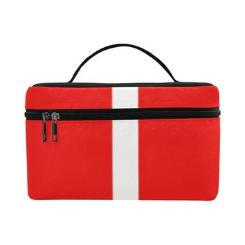 Red and white cosmetic makeup bag