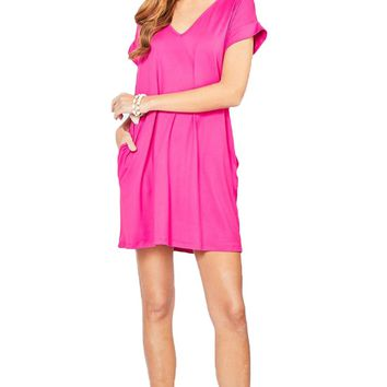 Entro Solid Fuchsia V-Neck Dress