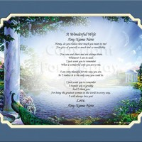 Personalized A Wonderful Wife Gift Keepsake Remembrance
