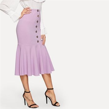 Purple Single Breasted Ruffle Hem Fishtail Button Skirt Womens Solid Elegant High Waist Pencil Long Skirt