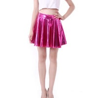 Hot Pink Wet Look Skater Skirt
